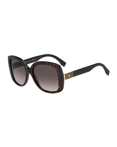 Striped-Temple Havana Butterfly Sunglasses, Brown