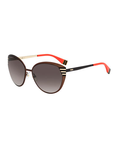Fendi Striped-Temple Metal Sunglasses, Dark Brown