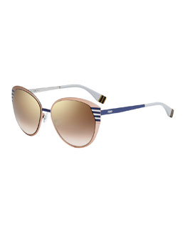 Fendi Striped-Temple Metal Sunglasses, Peach