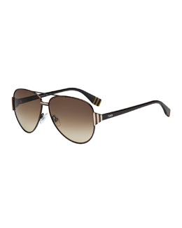 Fendi Striped-Temple Aviator Sunglasses, Dark Brown