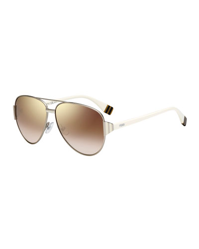 Striped-Temple Aviator Sunglasses, Light Golden/Brown