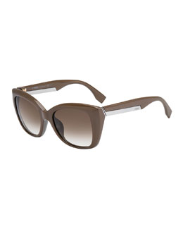 Fendi Angled Sunglasses, Mudbrown Gray