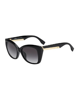 Fendi Angled Sunglasses, Shiny Black