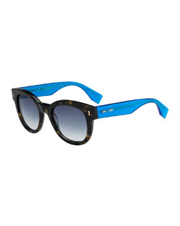 Fendi Vintage Havana Sunglasses, Amber Gray/Blue