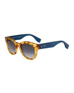 Fendi Rounded Enamel Sunglasses, Havana/Blue