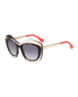 Fendi Transparent Salmon/Gray Gradient Sunglasses