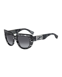 Fendi Striped Square & Variegated Sunglasses, Stingray Gray