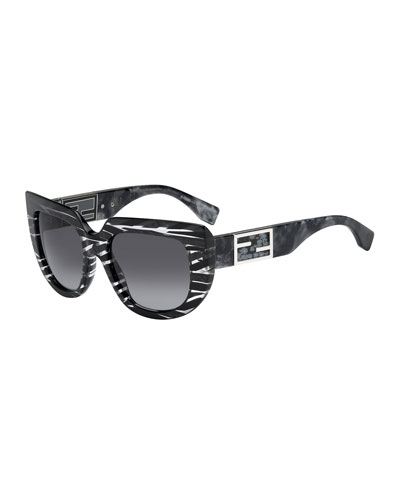 Fendi Striped Square & Variegated Sunglasses, Stingray Gray