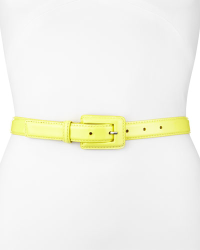 Neiman Marcus Patent Leather Belt, Lemon Yellow