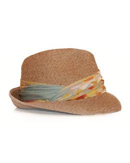 Eugenia Kim Max Fedora with Printed Chiffon Ribbon, Camel