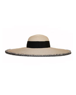 Eugenia Kim Sunny Wide-Brim Hat with Fringe Trim