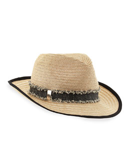 Eugenia Kim Lillian Fedora with Fringe Band, Natural