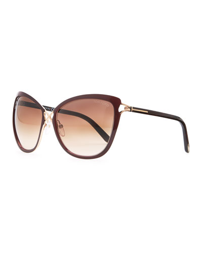 Tom Ford Celia Metal Cat-Eye Sunglasses, Dark Red