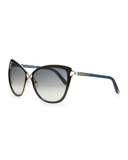 Tom Ford Celia Metal Cat-Eye Sunglasses, Black
