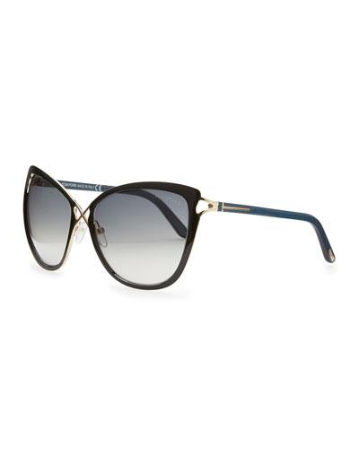 Tom Ford Celia Metal Cat-Eye Sunglasses, Black