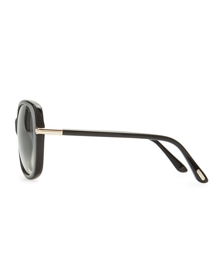 Linda Acetate Butterfly Sunglasses, Black