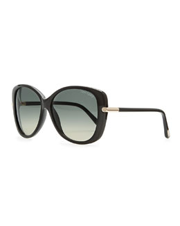 Tom Ford Linda Acetate Butterfly Sunglasses, Black