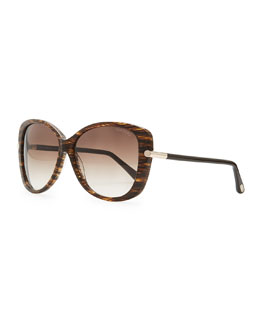 Tom Ford Linda Acetate Butterfly Sunglasses, Brown