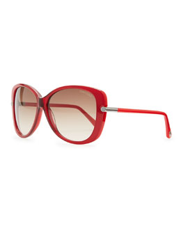 Tom Ford Linda Acetate Butterfly Sunglasses, Red