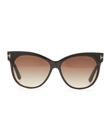 Saskia Acetate Cat-Eye Sunglasses, Black
