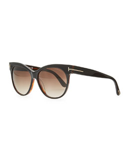 Tom Ford Saskia Acetate Cat-Eye Sunglasses, Black