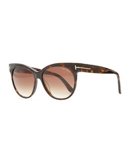 Tom Ford Saskia Acetate Cat-Eye Sunglasses, Brown