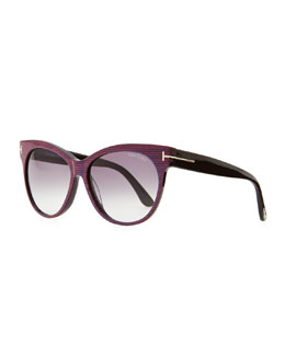 Tom Ford Saskia Acetate Cat-Eye Sunglasses, Blue