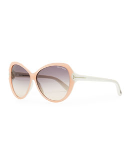 Tom Ford Valentina Acetate Cat-Eye Sunglasses, Pink/Ivory