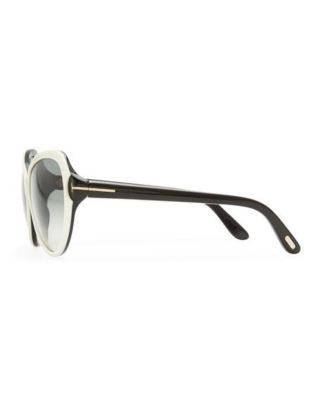 Valentina Acetate Cat-Eye Sunglasses, Ivory/Black