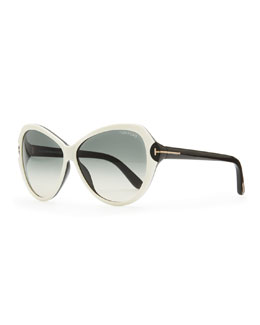 Tom Ford Valentina Acetate Cat-Eye Sunglasses, Ivory/Black