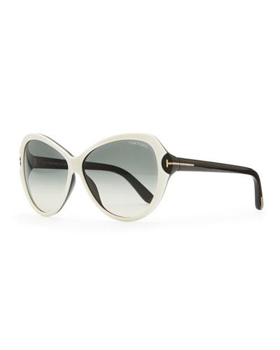 Tom Ford Valentina Acetate Cat-Eye Sunglasses, Ivory/Black