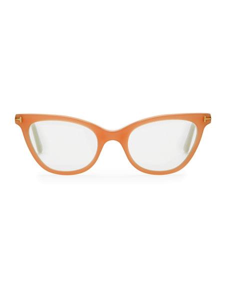 Slight Cat-Eye Fashion Glasses, Pink