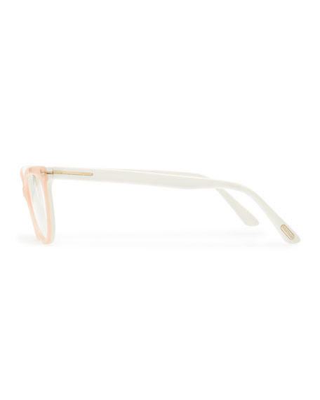 Slight Cat-Eye Fashion Glasses, Pink
