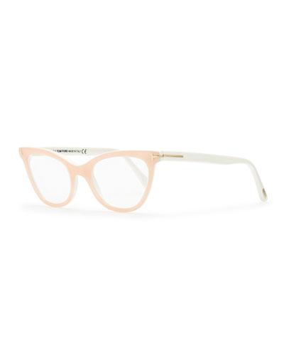 Tom Ford Slight Cat-Eye Fashion Glasses, Pink