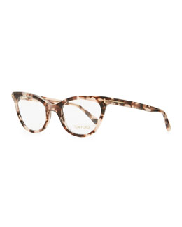 Tom Ford Slight Cat-Eye Fashion Glasses, Dark Red Tortoise