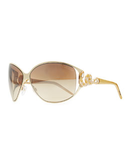 Roberto Cavalli Bellatrix Round Jeweled Snake-Temple Sunglasses, Rose/Brown