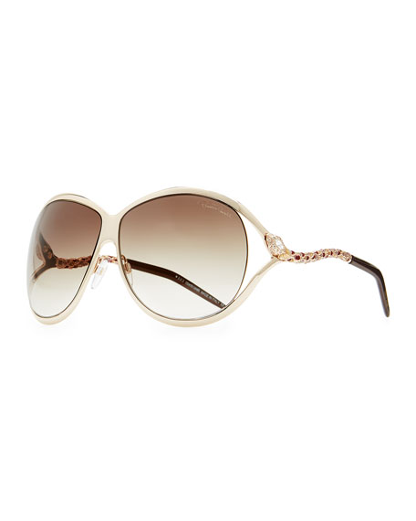 Round Metal Serpent-Temple Sunglasses, Rose Golden