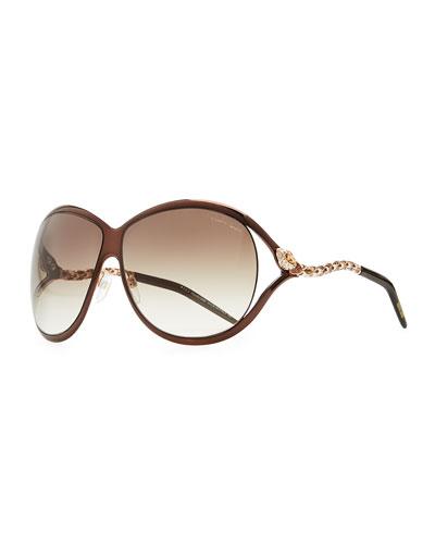 Roberto Cavalli Round Metal Serpent-Temple Sunglasses, Brown