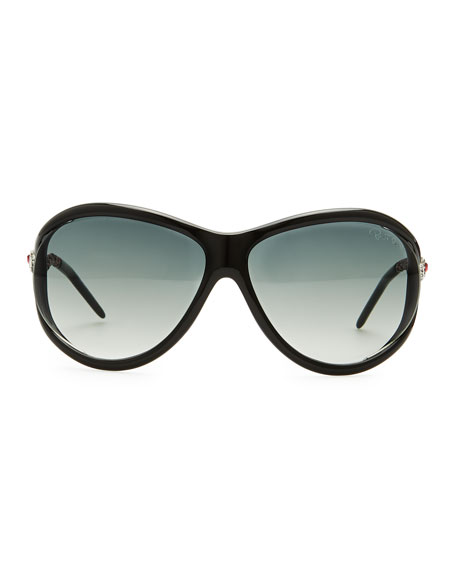 Round Acetate Serpent-Temple Sunglasses, Black