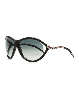 Roberto Cavalli Round Acetate Serpent-Temple Sunglasses, Black