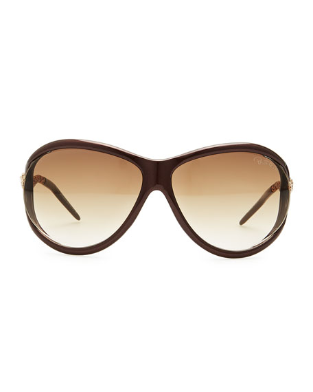 Round Acetate Serpent-Temple Sunglasses, Brown