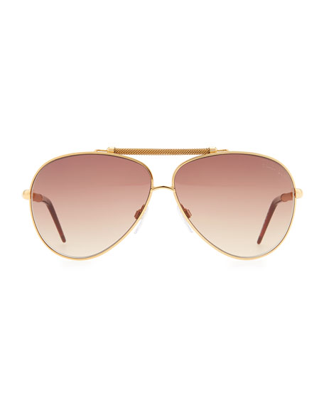 Kaitos Metal Aviator Sunglasses, Gold/Rose