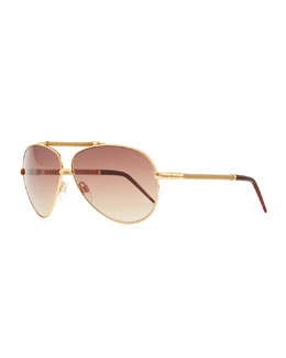 Roberto Cavalli Kaitos Metal Aviator Sunglasses, Gold/Rose