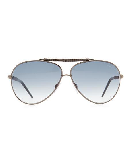 Kaitos Metal Aviator Sunglasses, Silver/Blue