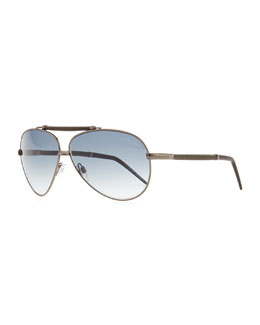 Roberto Cavalli Kaitos Metal Aviator Sunglasses, Silver/Blue