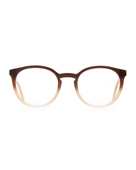 Round Ombre Acetate Fashion Glasses, Brown
