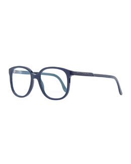 Stella McCartney Softly Squared Acetate Fashion Glasses, Blue