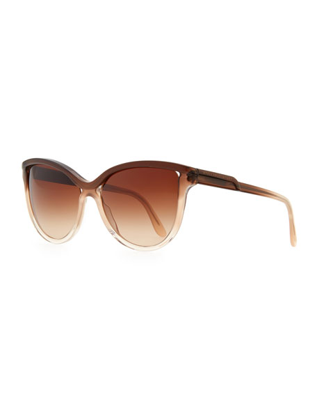 Ombre Acetate Cat-Eye Sunglasses, Brown