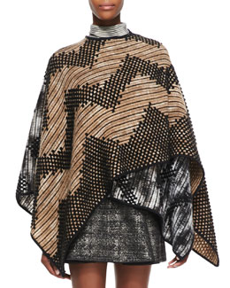 Missoni Zigzag Patterned Mantle Cape, Tan/White/Black