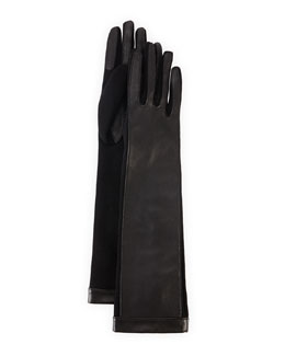 Lanvin Long Lambskin Gloves with Suede, Black